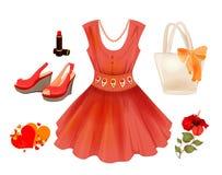 Kleid, Handtasche, Blume, Lippenstift und Sand Stockbilder
