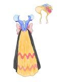 Kleiden Sie in der bayerischen Art von den Märchen mit dem Blumenhut an, der durch Aquarell gezeichnet wird Stockbild