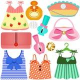Kleider, Beutel, Zubehör für Mädchen Lizenzfreie Stockfotos