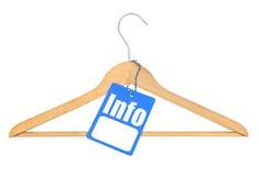 Kleiderbügel mit Informationstag Stockbild