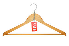 Kleiderbügel mit Verkaufsmarke Stockbilder