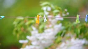 Kleiderhaken auf waschender Linie Stockfotos