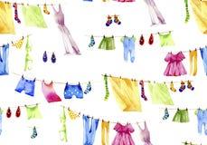 Kleidet Reinigungen n ein Seil Watecolor-Illustration Lizenzfreies Stockfoto