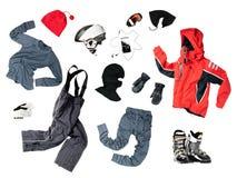 Kleidung des Kind-Skifahrers Stockfoto