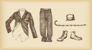 Kleidung eingestellt - Hosen. Schuhe, Smoking, Stock, Hut Stockfotos
