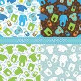 Kleidung für nahtlosen Mustersatz des neugeborenen Babys Stockbild