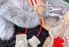 Kleidung für Wintererholung Stockfoto