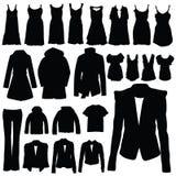 Kleidung im schwarzen Vektorschattenbild Lizenzfreie Stockfotos