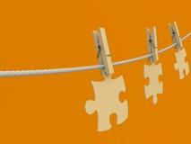 Kleidung-Stöpsel Puzzlespielseil hölzern Lizenzfreie Stockfotografie
