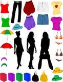 Kleidung und Art und Weisezubehör Stockfotografie