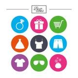 Kleidung, Zubehörikonen Einkaufszeichen Stockfotografie