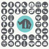 Kleidungs-Ikonen eingestellt stock abbildung