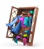 Kleidungsfall aus dem Wandschrank heraus Lizenzfreies Stockbild