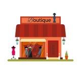 Kleidungsshop in der flachen Art - vector Illustration Marktikone lokalisiert auf weißem Hintergrund Stoffboutique Stockfoto