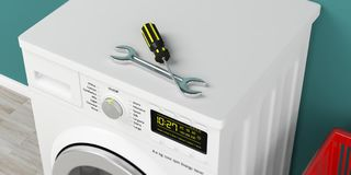 Kleidungswaschmaschinenmaschinen- und -service-Werkzeuge auf grünem Wandhintergrund Abbildung 3D vektor abbildung