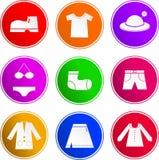 Kleidungszeichenikonen Stockfoto