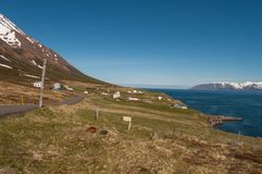 Kleifar村庄在Olafsfjordur在北部冰岛 库存照片