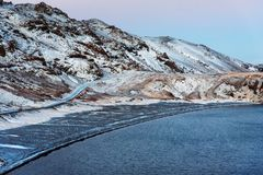 Kleifarvatn lake in Iceland on a winter day royalty free stock photo