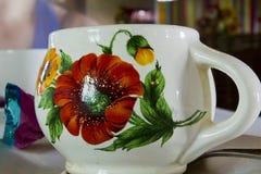 Kleikop met bloemenpatroon Stock Fotografie