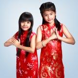 Klein Aziatisch meisje twee Royalty-vrije Stock Fotografie