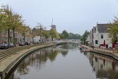 Klein Diep Canal in Dokkum, the Netherlands stock image