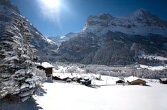Klein dorp in Alpen Swizz Royalty-vrije Stock Afbeeldingen