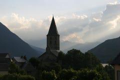 Klein dorp in de Pyreneeën Stock Afbeeldingen