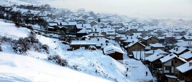 Klein dorp in de winter Royalty-vrije Stock Fotografie