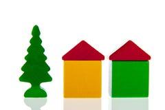 Klein dorp in houten blokken Royalty-vrije Stock Afbeelding