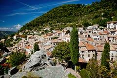 Klein dorp Peille, Kooi d'Azur Stock Foto