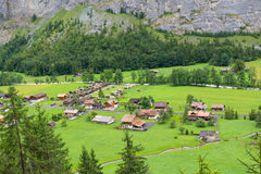 Klein dorp van Lauterbrunnen-Vallei Zwitserland Stock Fotografie