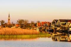 Klein dorp van Spanbroek, Noord-Holland, Nederland stock afbeelding