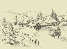 Klein dorps idyllisch landschap vector illustratie