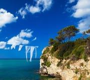 klein eiland in Griekenland, Zakynthos stock foto's