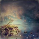 Klein eiland met een boom van sakura op rivier Royalty-vrije Stock Foto