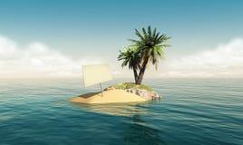 Klein eiland met een leeg teken stock foto