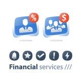 Klein en groot bedrijf, de groei en consolidatie, bedrijfsaanwinst, de collectieve dienst, wederzijds fondsbeheer stock illustratie