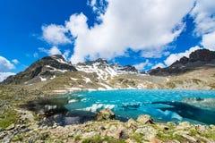 Klein gekleurd alpien meer met laatste ijs Royalty-vrije Stock Fotografie