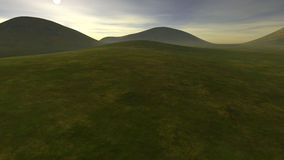 Klein heuvelig gebied met lage groenheid Stock Afbeelding