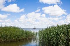 Klein jacht die in Curonian-Lagune varen Stock Foto
