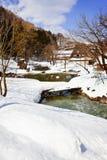 Klein Kanaal dat met Sneeuw wordt omringd Stock Foto's