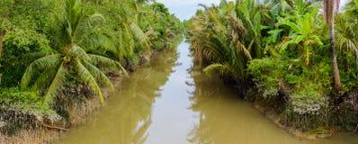 Klein kanaal in Mekong Delta stock afbeeldingen