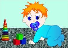 Klein kind met stuk speelgoed vector illustratie