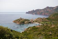 Klein kustdorp van Girolata, Corsica, Frankrijk Royalty-vrije Stock Foto's