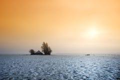 Klein landbouwbedrijf in de winter Stock Foto