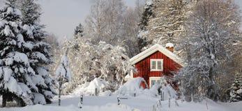 Klein landbouwbedrijf, de winter en snoiw Stock Foto