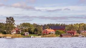 Klein landelijk dorp in Zuid-Zweden Stock Afbeelding
