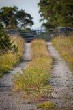 Klein landweg en kalksteen fence.GN Royalty-vrije Stock Foto
