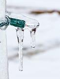 Klein Licht dat door ijs wordt behandeld Stock Fotografie