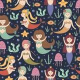 Klein meerminnen naadloos patroon stock illustratie